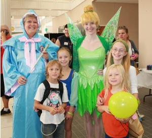 The Fairy Godmother and Tinkerbell celebrate children who have graduated from the Pediatric Intensive Care Unit at MetroHealth in Cleveland.