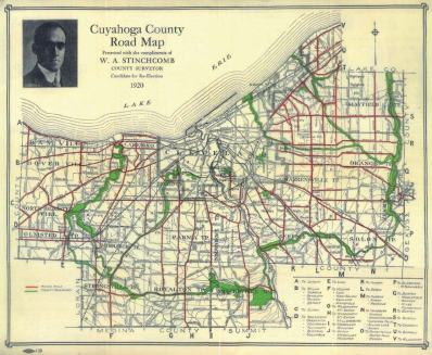 The prominence of Alfred Stinchcomb's greenway plan is seen in this 1920 Cuyahoga County Road Map. (Image credit: Teaching Cleveland)